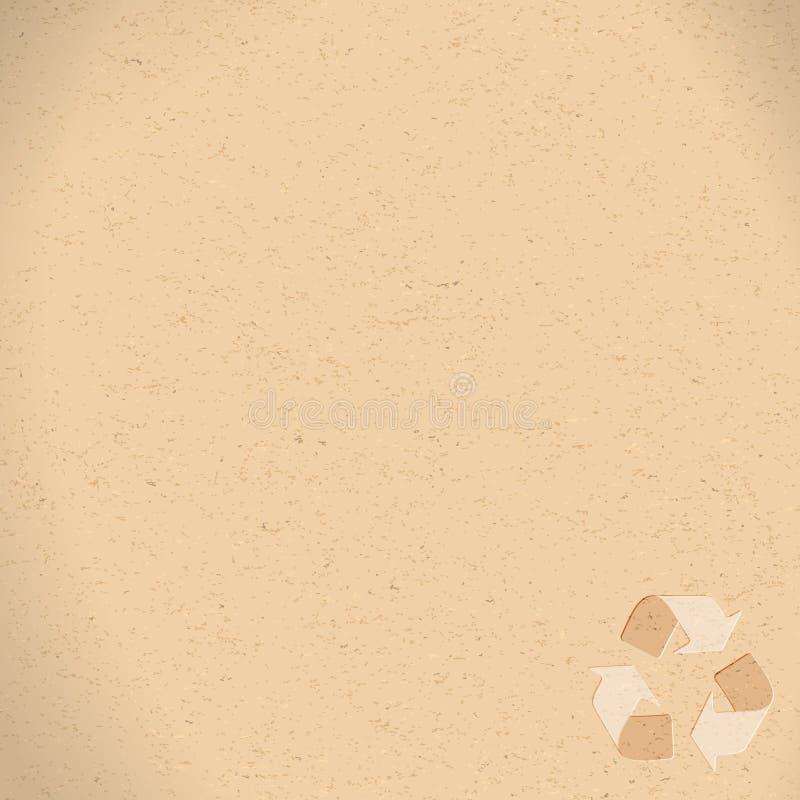 Realistisches Recyclingpapier mit der Wiederverwertung des Symbolkopienraumes stock abbildung