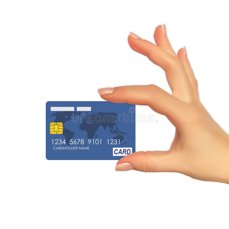 Realistisches Schattenbild 3D der Hand mit Kreditkarte Auch im corel abgehobenen Betrag lizenzfreie abbildung