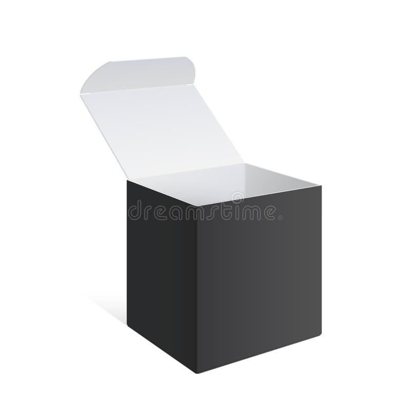 Realistisches Schwarz-offener Paket-Kasten lizenzfreie abbildung
