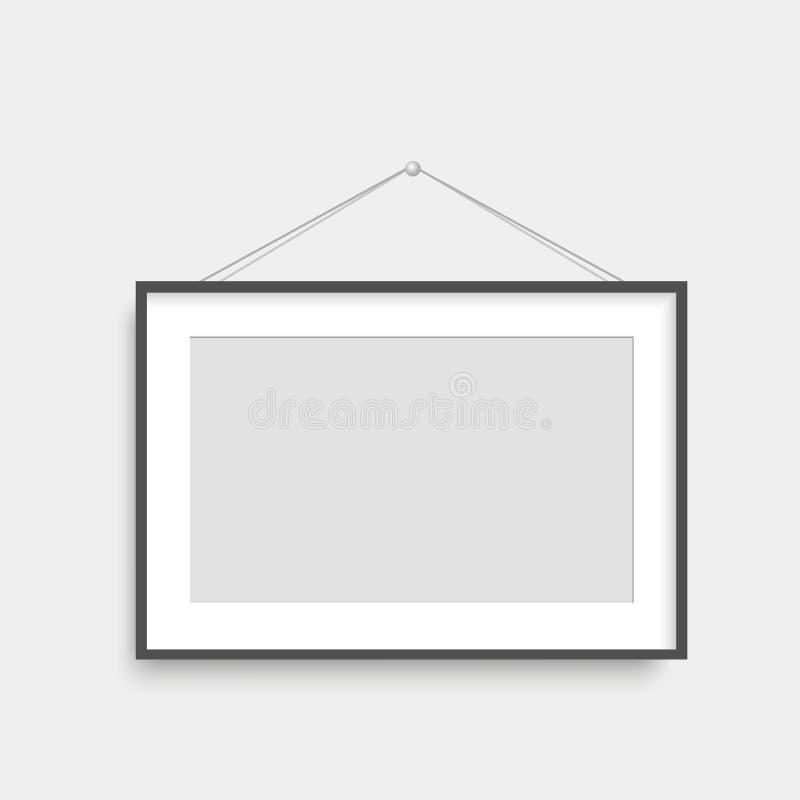 Realistisches schwarzes Fotorahmenhängen Vektor vektor abbildung