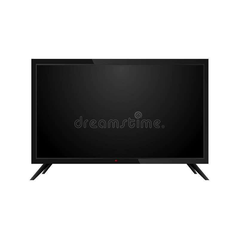 Realistisches Schwarzes LCD, Monitor oder Fernsehen Front View Vektor vektor abbildung