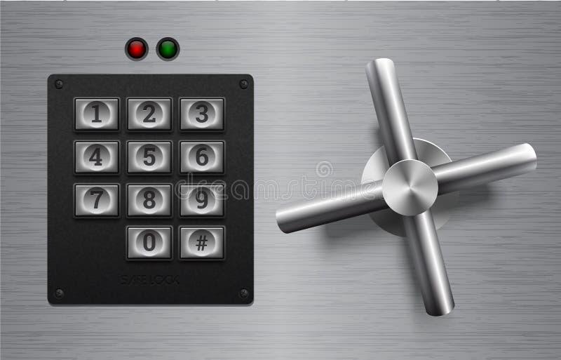 Realistisches sicheres Verschlussmetallelement auf gebürstetem Metallhintergrund Edelstahlrad Vektorikone oder -Gestaltungselemen lizenzfreie abbildung