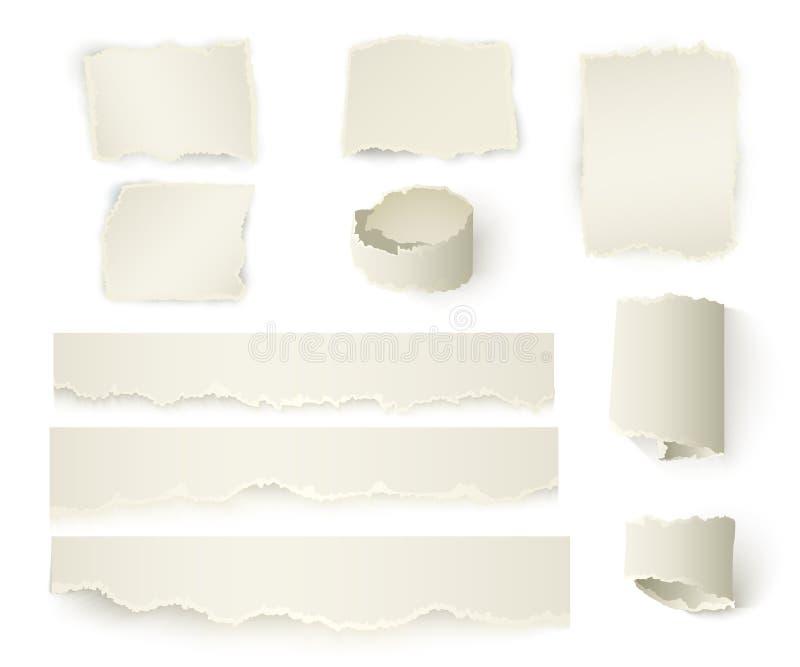 Realistisches Stück heftiges Papier mit zerrissenen Rändern lizenzfreie abbildung