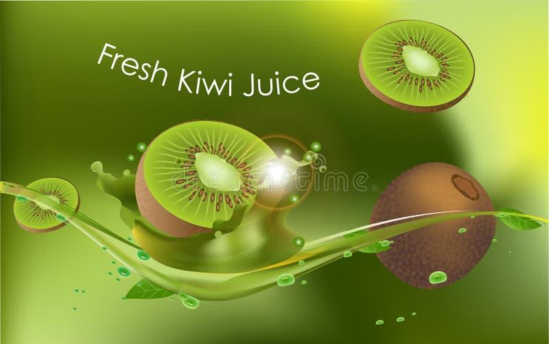 Realistisches, Vektorbild einer Kiwi auf einem Hintergrund von Blättern und ein Glas Saft lizenzfreie abbildung