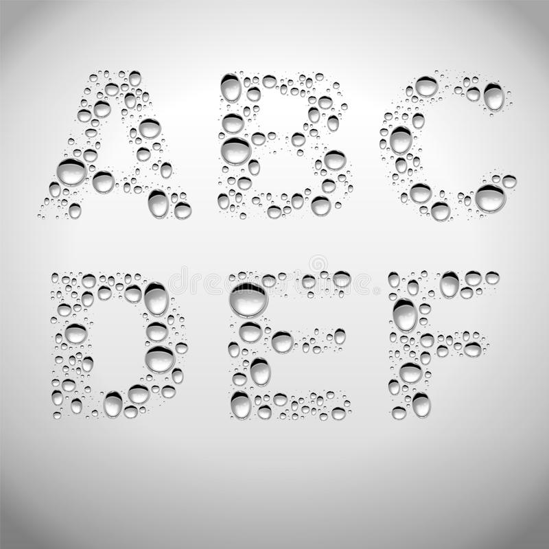 Realistisches Wasser lässt Guss von A zu F fallen lizenzfreie abbildung