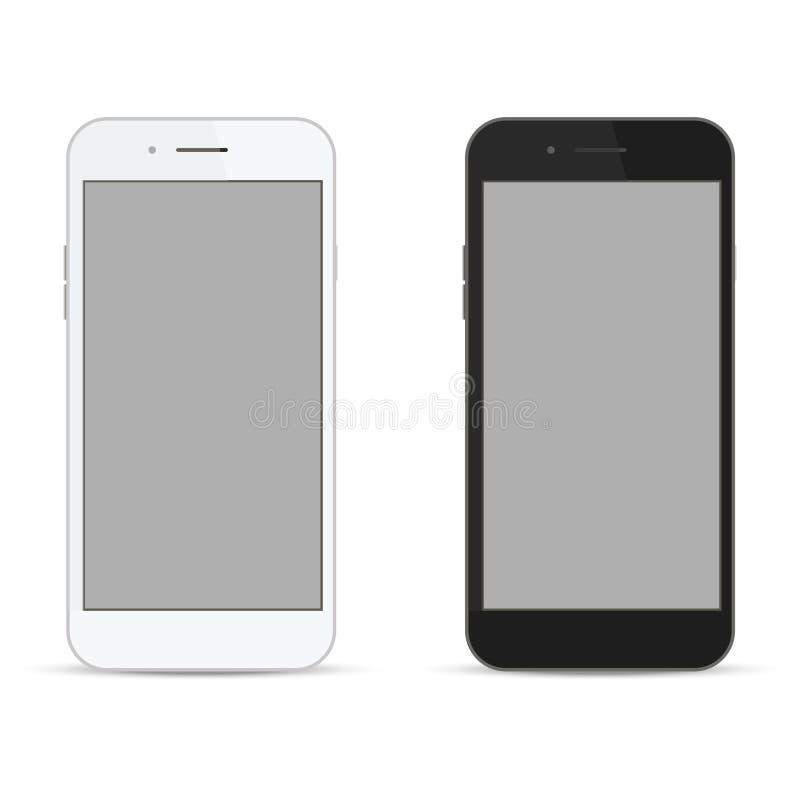 Realistisches weißes und schwarzes intelligentes Telefon Abbildung stock abbildung