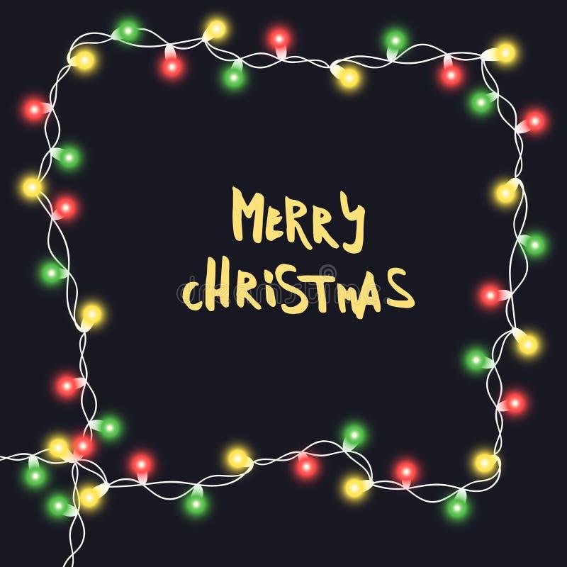 Realistisches Weihnachten, Parteidekorationen des neuen Jahres mit Transparenz Glühlampedekor Lichtgrenze stock abbildung