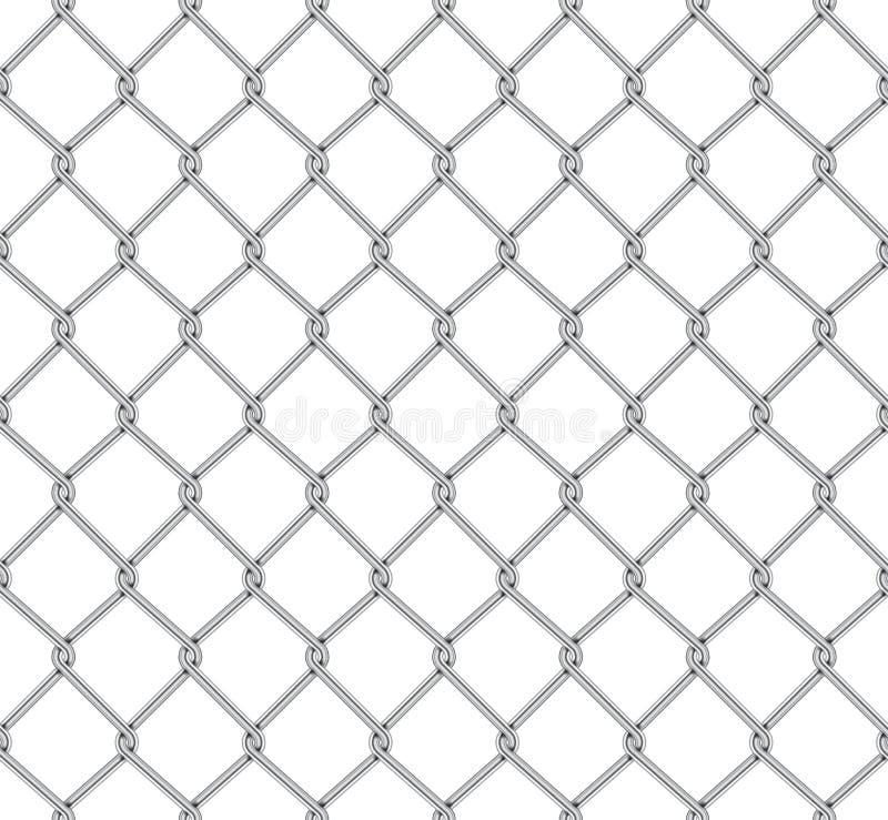 Realistisches Zaun-Rabitz-Muster Nahtlose Verbindung des schützenden Gitters Vektor rabitz Gitter Robustes, modernes Chrom Draht stock abbildung