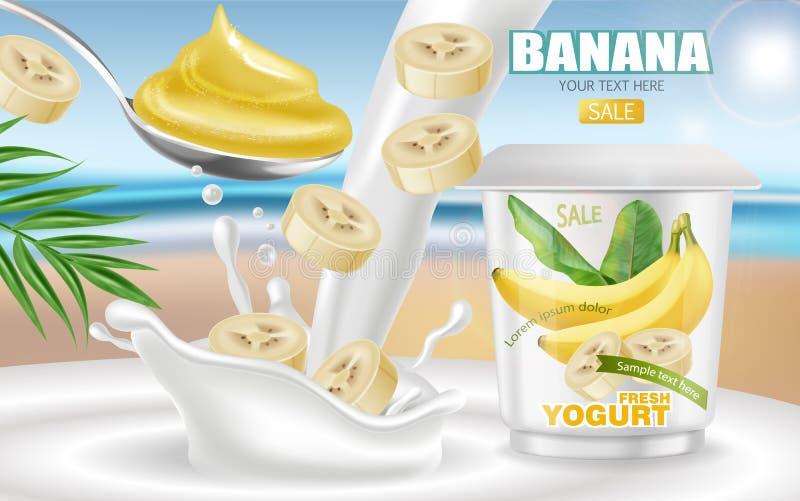 Realistisk åtlöje för bananyoghurtvektor upp Design f?r produktplaceringsetikett Pourring flytande för yoghurt V?ndkretsbakgrund  vektor illustrationer