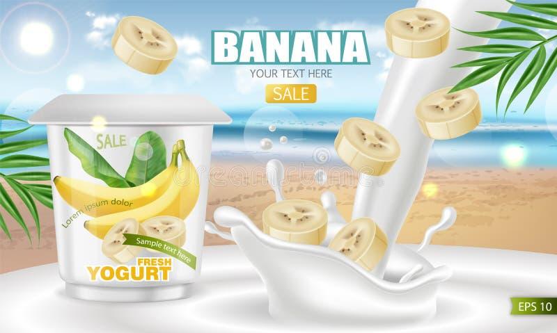 Realistisk åtlöje för bananyoghurtvektor upp Design f?r produktplaceringsetikett Pourring flytande för yoghurt V?ndkretsbakgrund  stock illustrationer