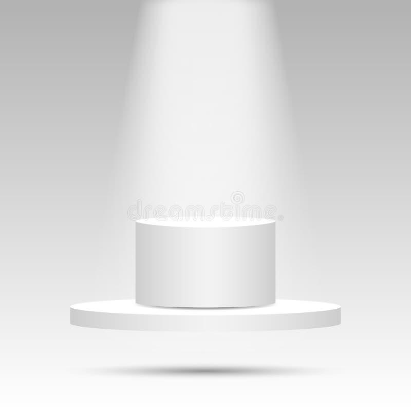 Realistisk åtlöje för sockel 3d upp med tomt utrymme och ljus Bakgrund plattform, skärm för presentation vektor illustrationer