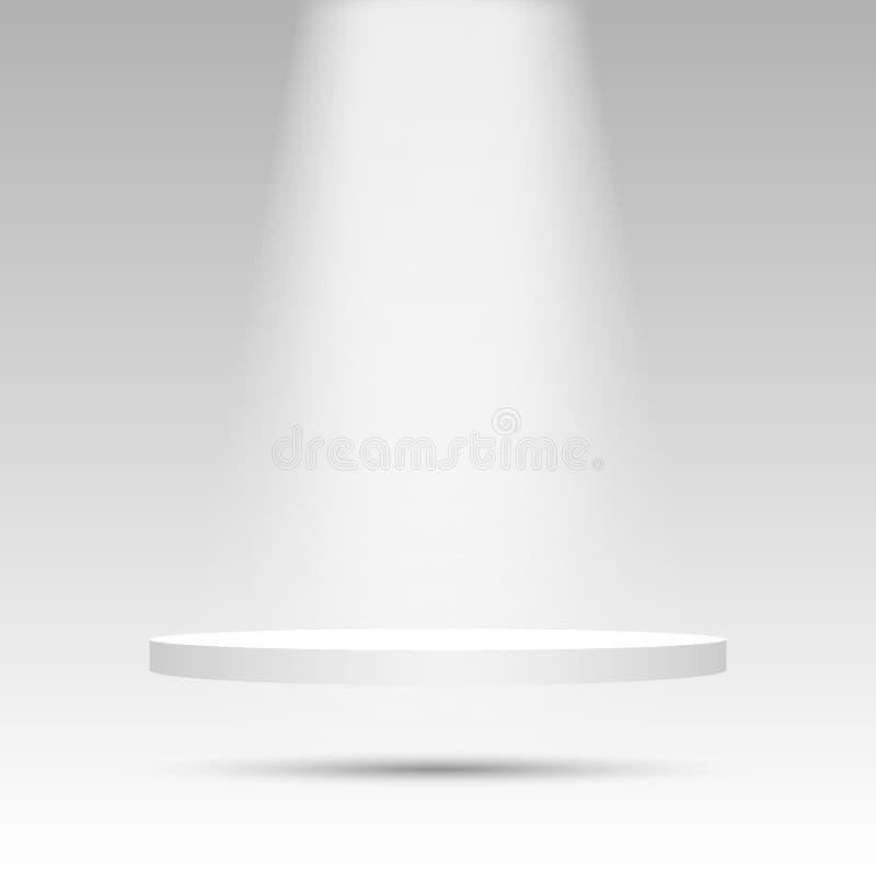 Realistisk åtlöje för sockel 3d upp med tomt utrymme och ljus Bakgrund plattform, skärm för presentation stock illustrationer