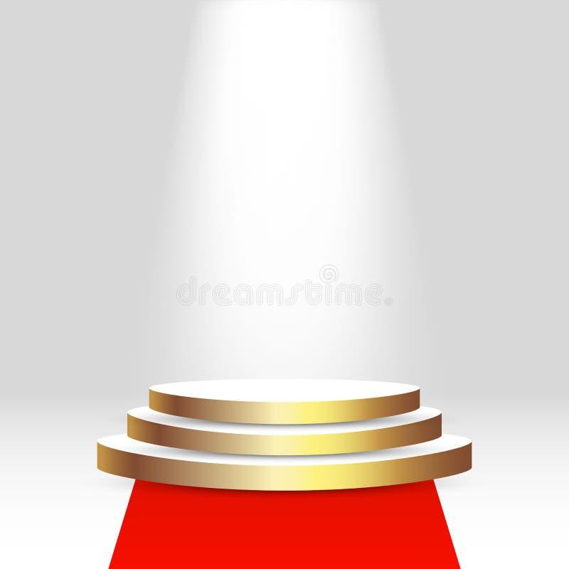 Realistisk åtlöje för sockel 3d upp med tomt utrymme, röd matta och ljus Bakgrund plattform, skärm för presentation royaltyfri illustrationer