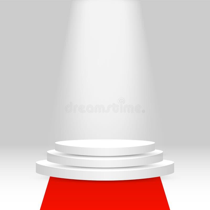 Realistisk åtlöje för sockel 3d upp med tomt utrymme, röd matta och ljus royaltyfri illustrationer