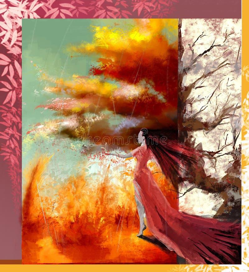 Realistisk/abstrakt begreppillustration av en kvinna med långt hår och långa klänningen som ser in mot ett panorama- höstlandskap royaltyfria foton