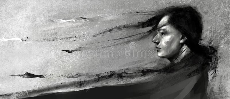 Realistisk/abstrakt begreppillustration av en man med långt hår och mörk lång kläder som ser in mot horisonten arkivfoto