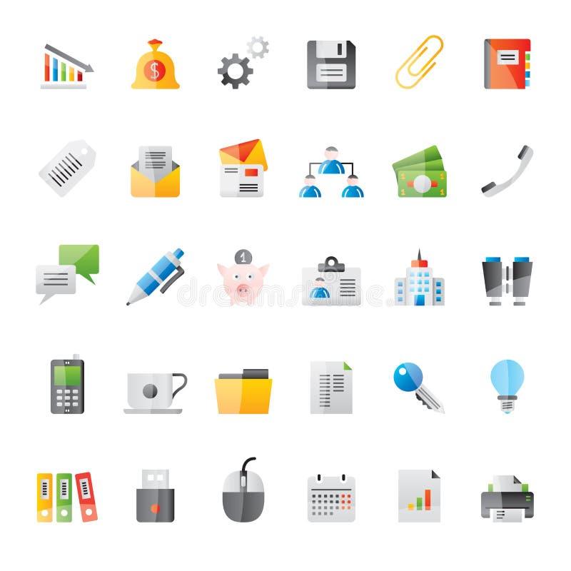 Realistisk affär, kontor och finanssymboler 2 stock illustrationer
