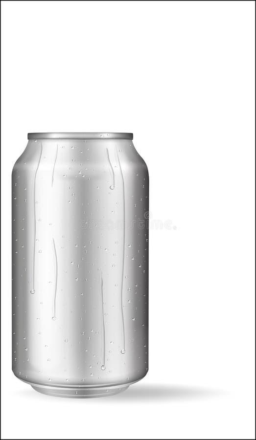 Realistisk aluminiumburk med vattendroppar Metalliskt kunna för öl, sodavatten, lemonad, fruktsaft, energidrink Vektormodellen, f royaltyfri illustrationer