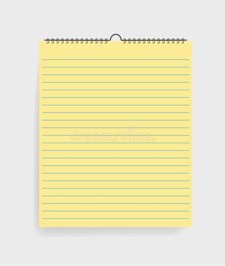 Realistisk anteckningsbok med linjer i modellstil Tom notepad med spiral Mall av den tomma sketchbooken på grå bakgrund vektor vektor illustrationer
