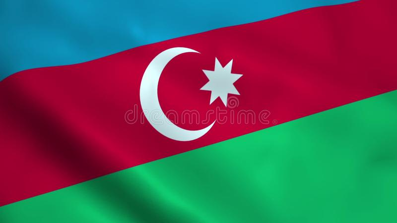 Realistisk Azerbajdzjan flagga royaltyfri illustrationer