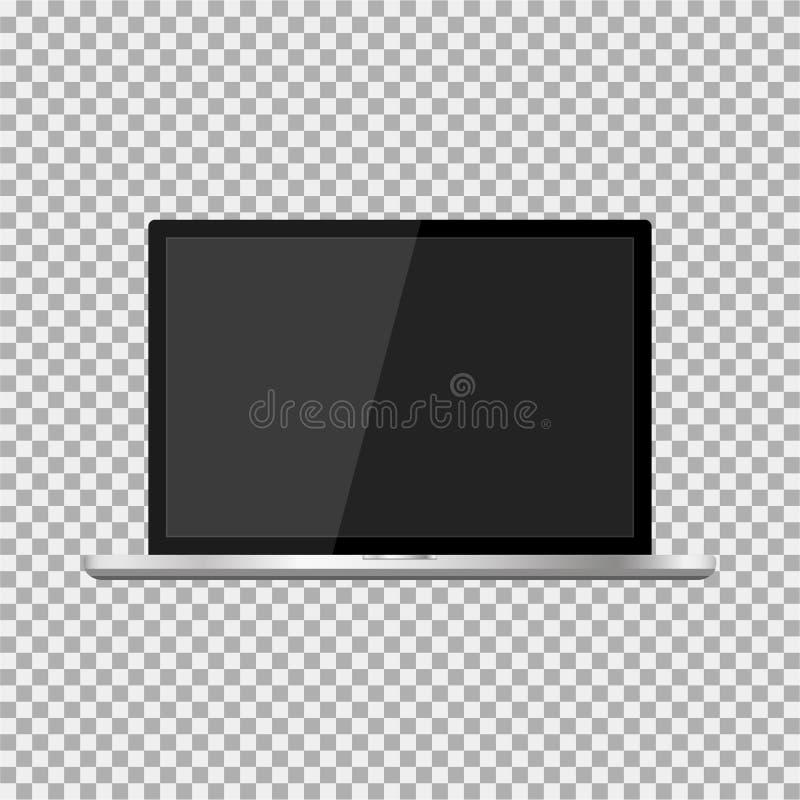 Realistisk bärbar dator med en mörk skärm på den genomskinliga bakgrunden Stilfull, modern moderiktig bärbar dator royaltyfri illustrationer