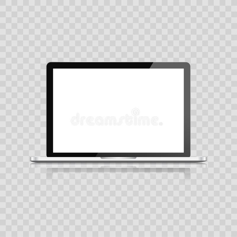 Realistisk bärbar dator som isoleras på vit bakgrund datoranteckningsbok med den tomma skärmen tomt kopieringsutrymme på modern m vektor illustrationer