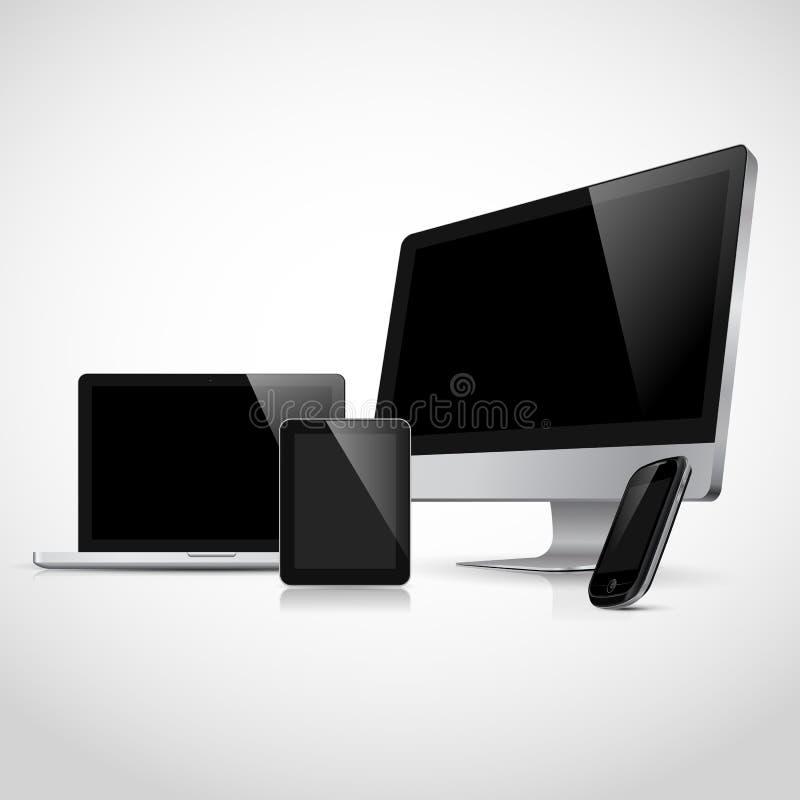 Realistisk bärbar dator, tablet, bildskärm, telefon stock illustrationer