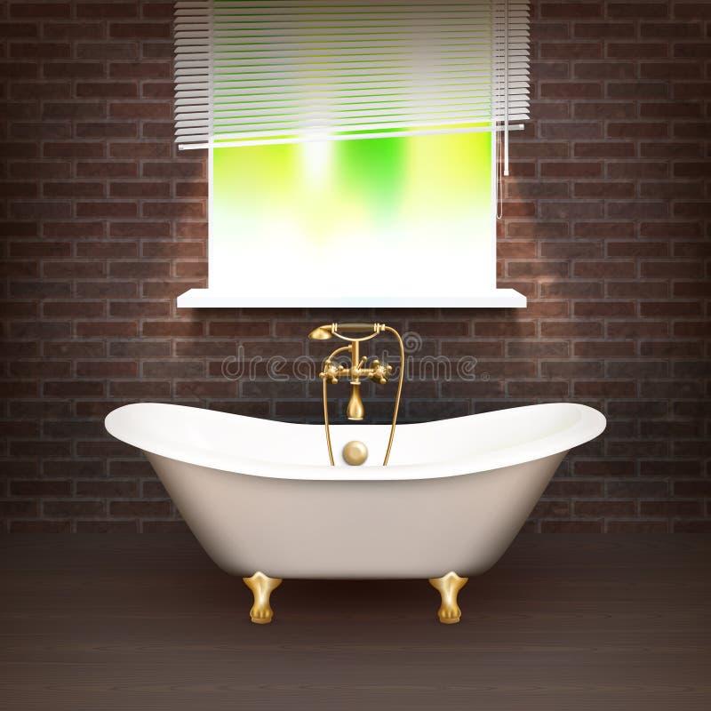 Realistisk badrumaffisch royaltyfri illustrationer
