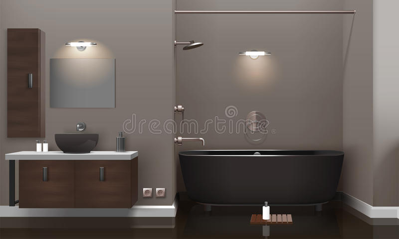Realistisk badruminredesign vektor illustrationer