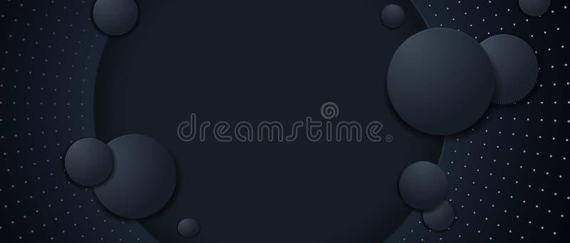 Realistisk bakgrund av cirklar i dynamisk stil Abstrakta krabba linjer, realistisk bakgrund av cirklar 3d i rörelse under texten vektor illustrationer