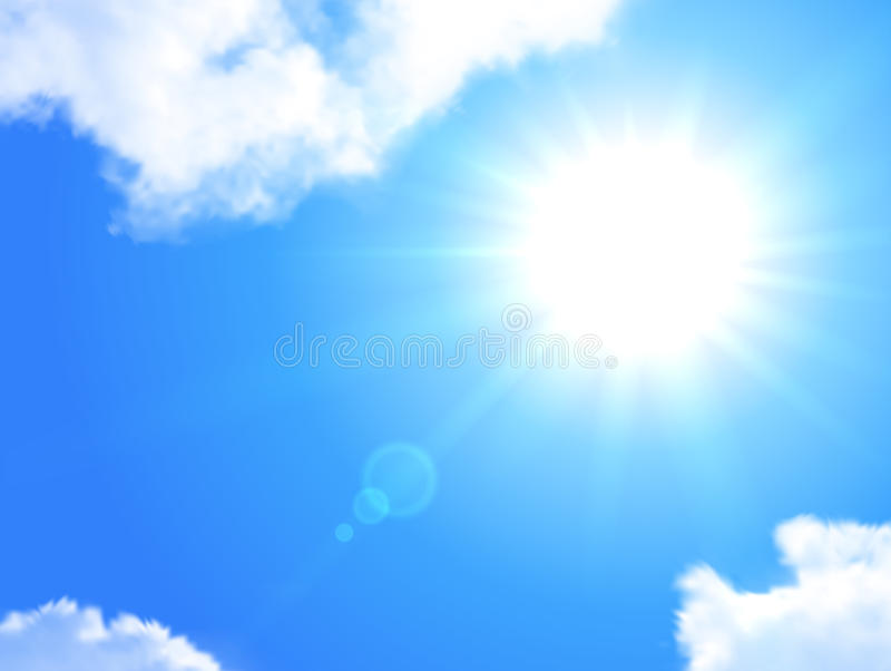 Realistisk bakgrund för sol och för himmel stock illustrationer