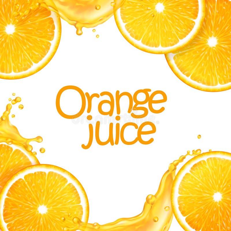 realistisk bakgrund för vektor som 3d göras av skivad saftig apelsiner och färgstänkfruktsaft Redigerbart handgjort ingrepp stock illustrationer