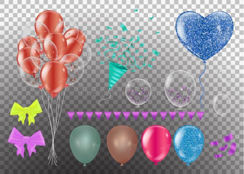 Realistisk ballonguppsättning olika färger för ballong som 3d isoleras på bakgrund Vektorillustration, gemkonst vektor illustrationer