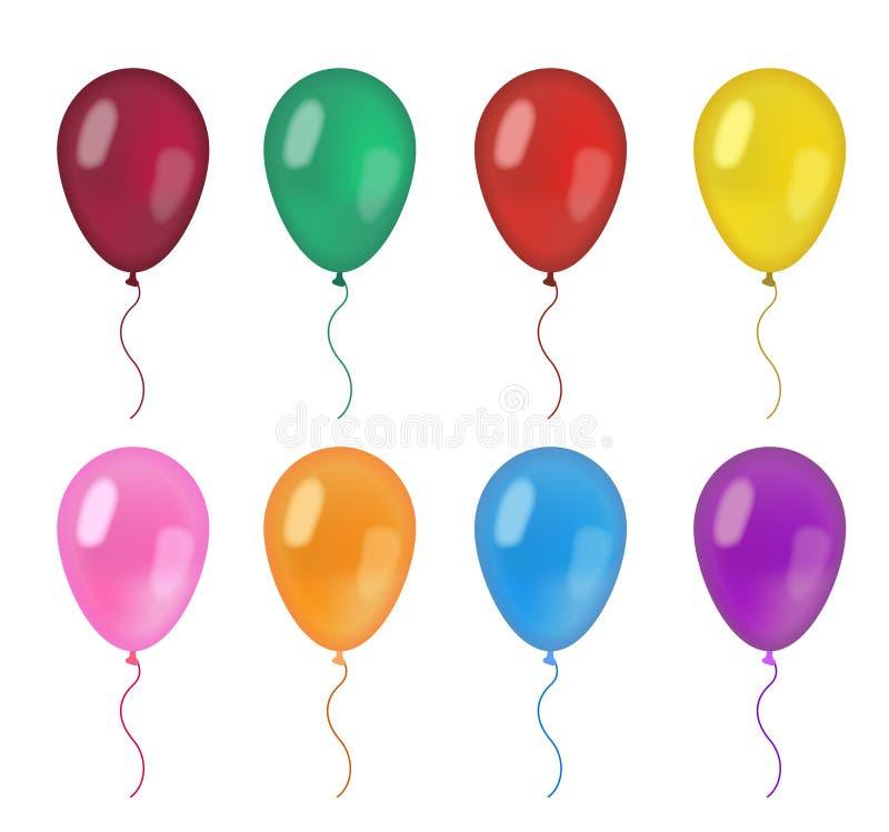 Realistisk ballonguppsättning olika färger för ballong som 3d isoleras på vit bakgrund Vektorillustration, gemkonst vektor illustrationer