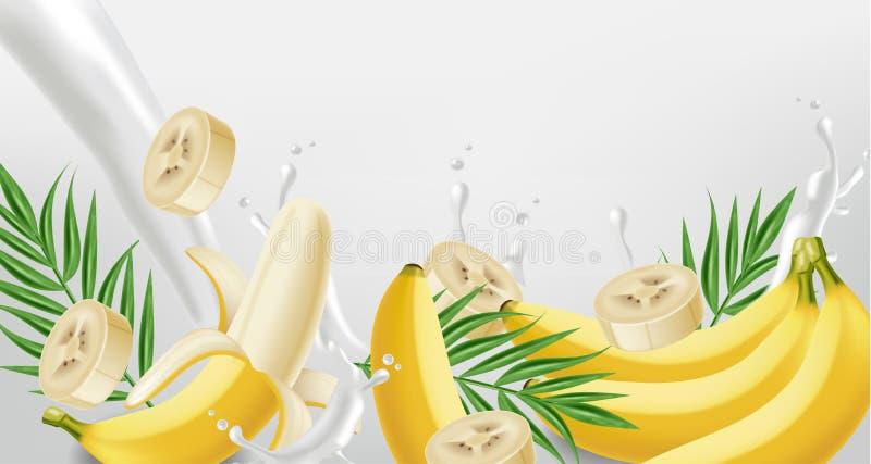 Realistisk bananfärgstänkvektor Yoghurt eller att mjölka pourring flytande Falskt upp för etikettdesigner stock illustrationer