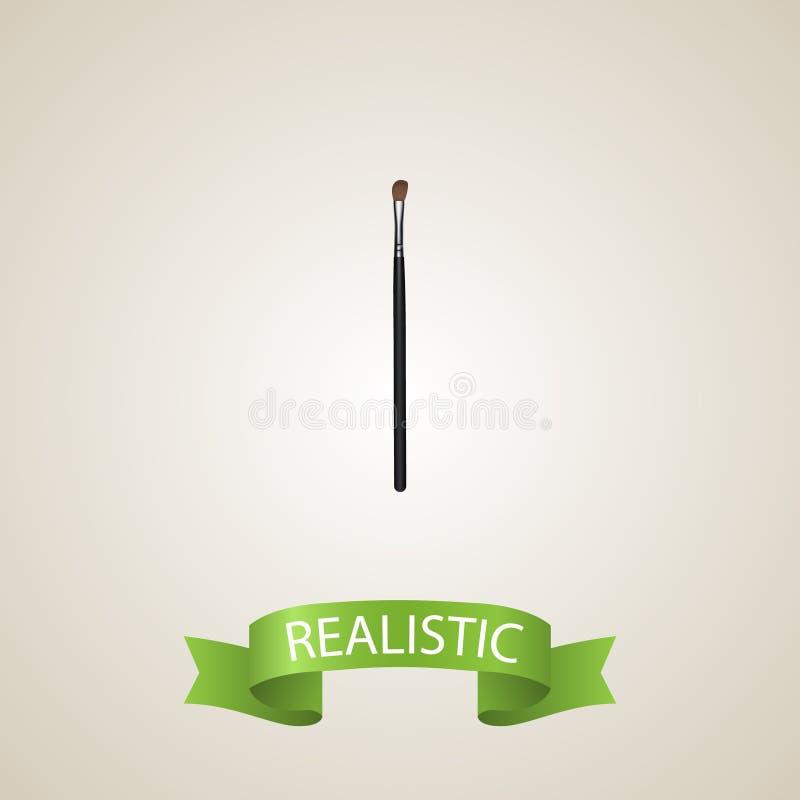 Realistisk beståndsdel för krönmakeuphjälpmedel Vektorillustration av den realistiska ögonmålarpenseln som isoleras på ren bakgru royaltyfri illustrationer