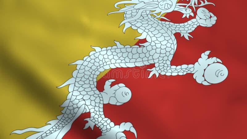 Realistisk Bhutan flagga vektor illustrationer
