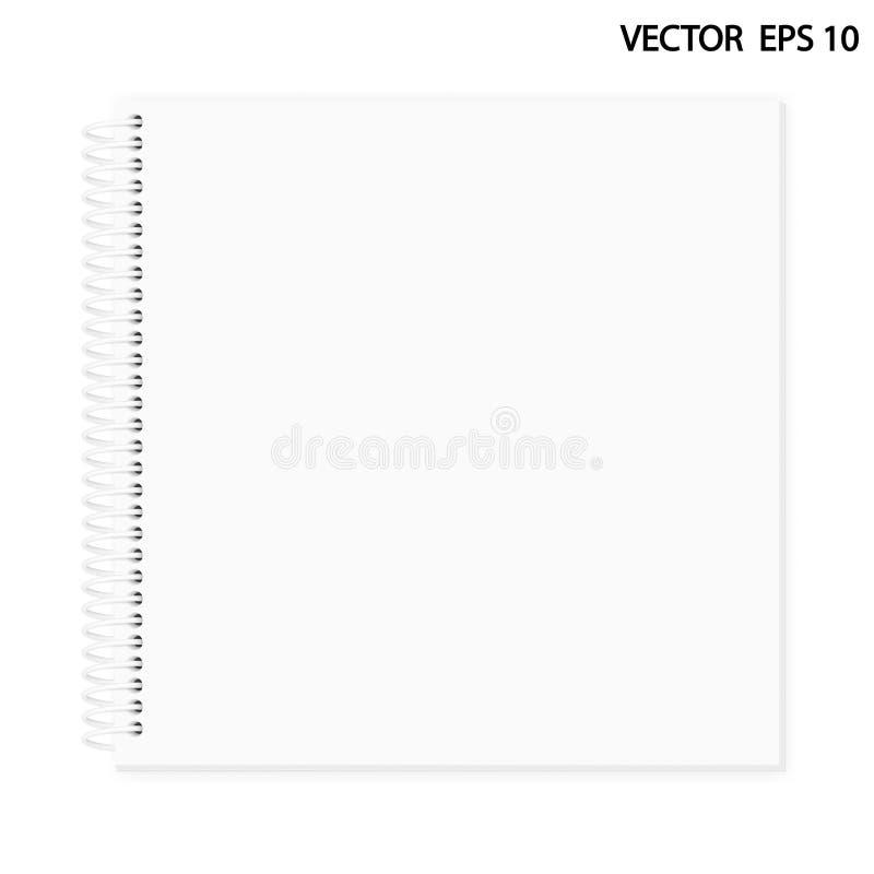 Realistisk bild av en notepad Vita ark av en anteckningsbok som är fäst vid en ljus vit, röra sig i spiral royaltyfria foton