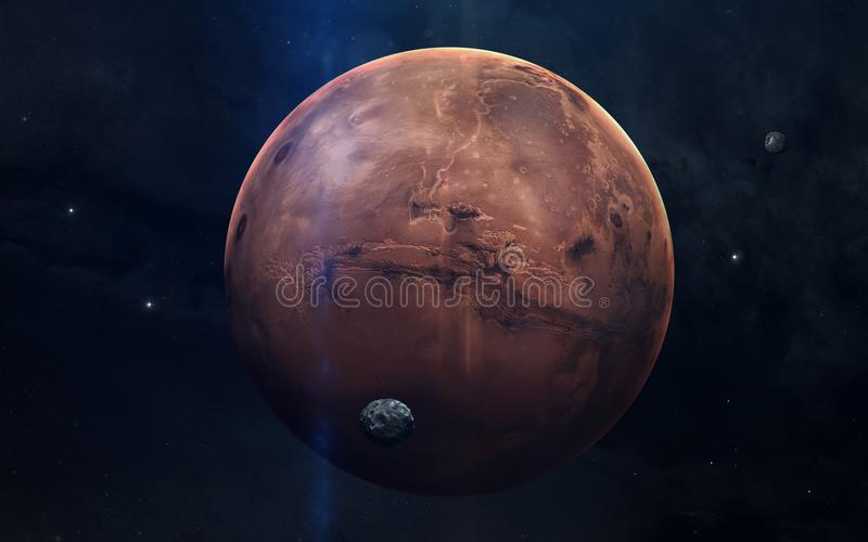 Realistisk bild av Mars, planet av solsystemet Bildande bild Beståndsdelar av denna avbildar möblerat av NASA fotografering för bildbyråer