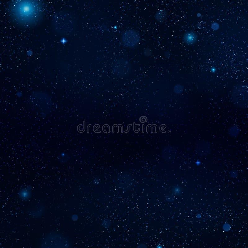 Realistisk blå himmel för stjärnklar natt med mjukt ljus Universum fyllde med stj?rnor, nebulosan och galaxen 10 eps vektor illustrationer