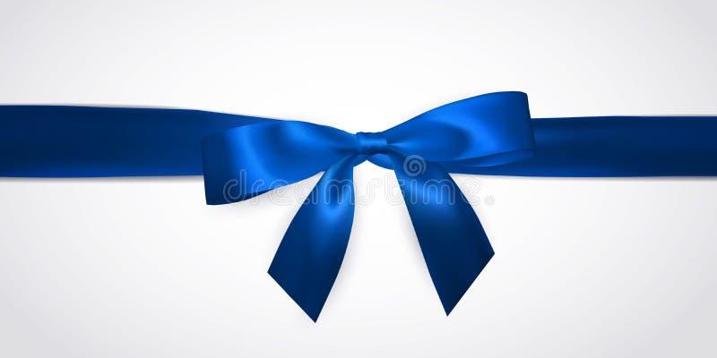 Realistisk blå pilbåge med horisontalbandet som isoleras på vit Beståndsdel för garneringgåvor, hälsningar, ferier vektor stock illustrationer