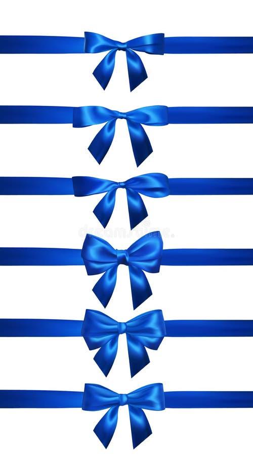 Realistisk blå pilbåge med horisontalstrumpebandsorden som isoleras på vit Beståndsdel för garneringgåvor, hälsningar, ferier vek royaltyfri illustrationer