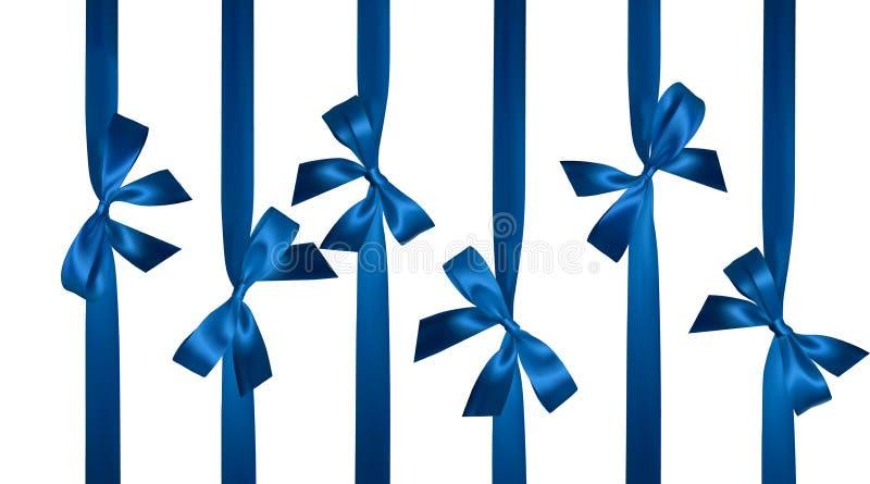 Realistisk blå pilbåge med vertikala strumpebandsorden som isoleras på vit Beståndsdel för garneringgåvor, hälsningar, ferier vek royaltyfri illustrationer