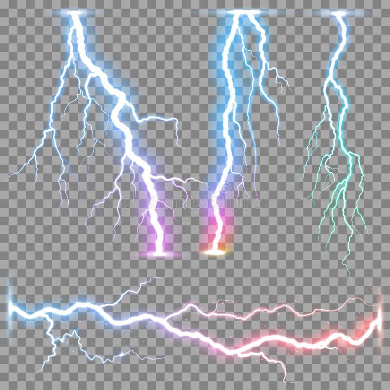 Realistisk blixtåskvigg för vektor stock illustrationer