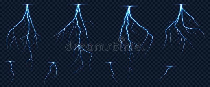 Realistisk blixtsicksack på rutig genomskinlig bakgrund vektor illustrationer