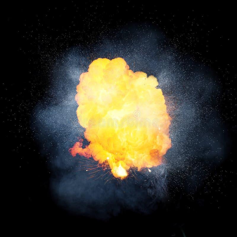 Realistisk brännhet explosion, orange färg med gnistor och rök royaltyfri bild