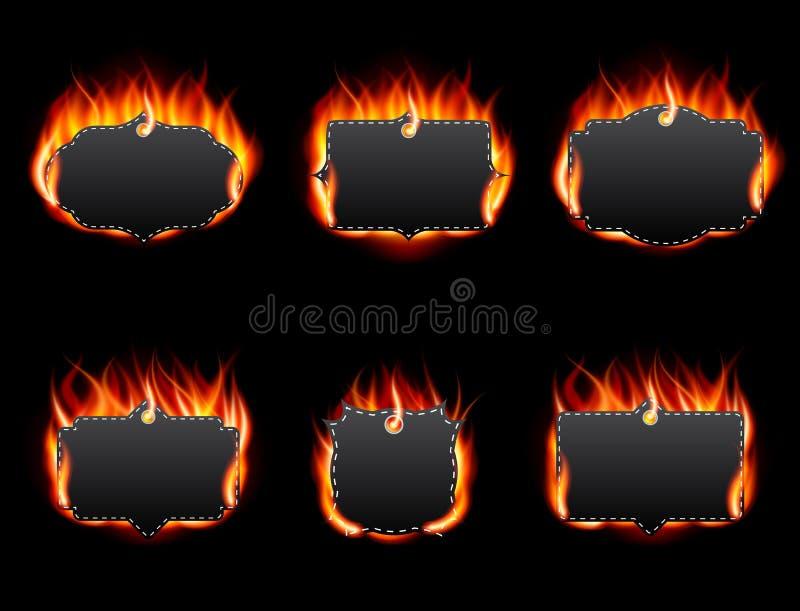 Realistisk brandetikettuppsättning på mörk bakgrund stock illustrationer