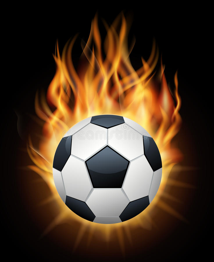 Realistisk brinnande vektor för svart för fotbollboll royaltyfri illustrationer