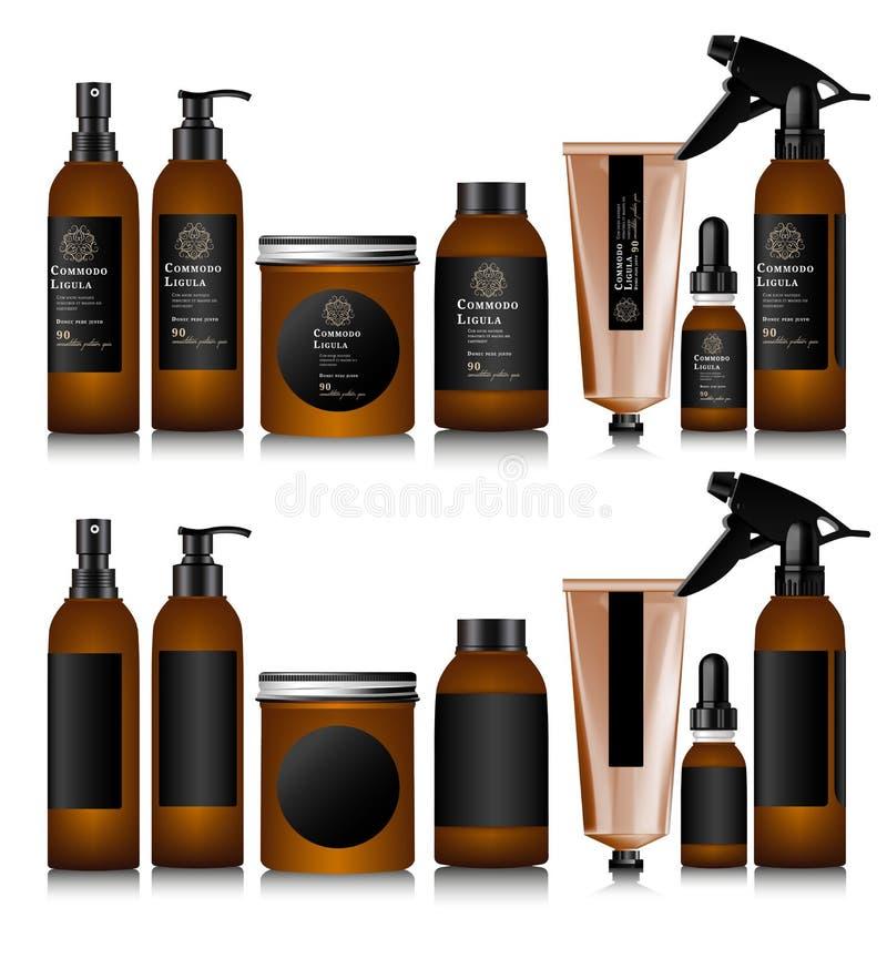 Realistisk brun flaska för skönhetsmedel vektor illustrationer