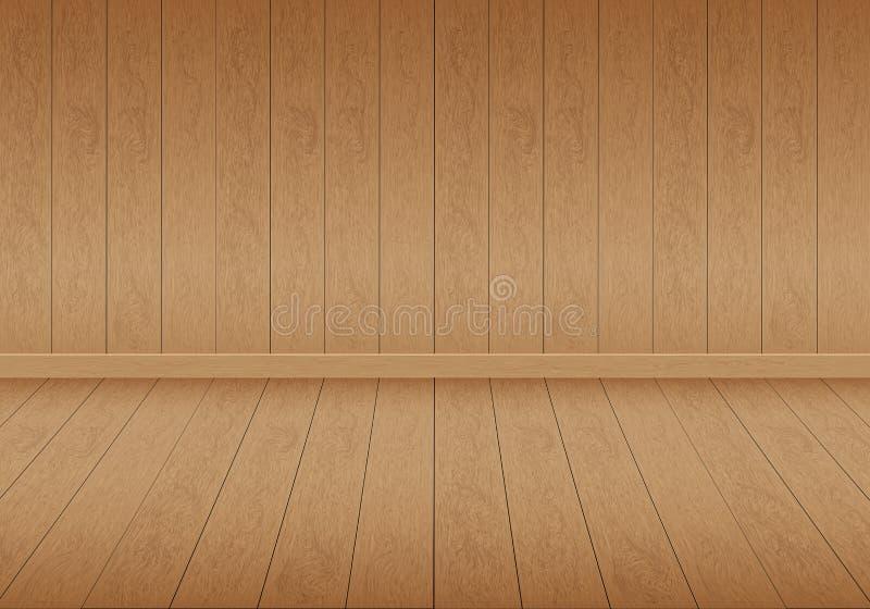 Realistisk brun wood vektor för bakgrund för tomt utrymme för för rumgolv och vägg royaltyfri illustrationer
